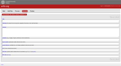 A blank metadata form
