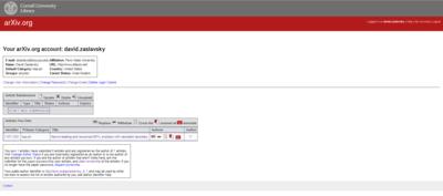 arXiv account page