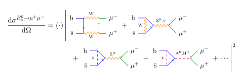 Feynman diagrams for B meson to muon in supersymmetric theories