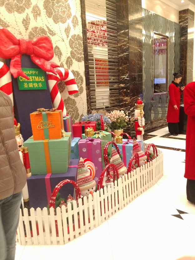 pile of presents in restaurant lobby