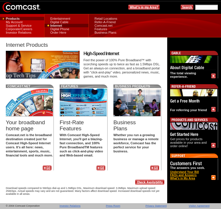Comcast's internet service listings from July 2004